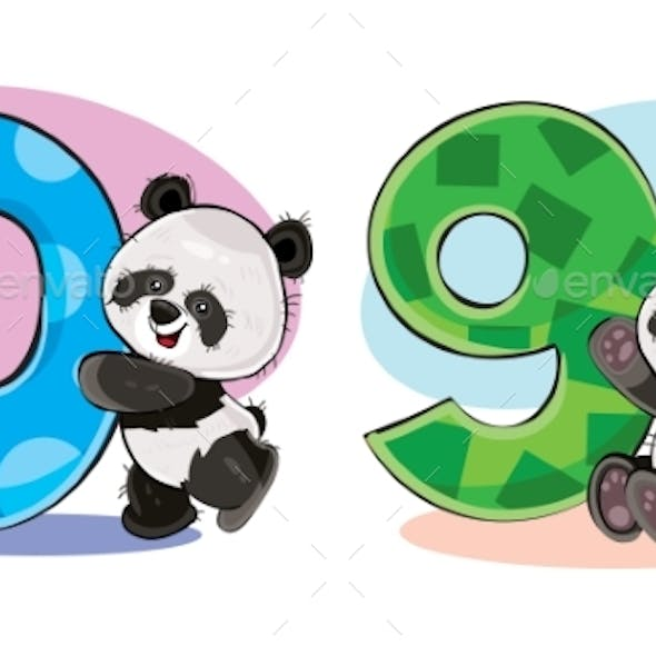 Vector Set of Baby Panda Bears with Numbers