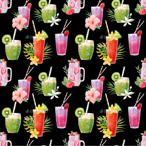 Watercolor Smoothie Vector Pattern