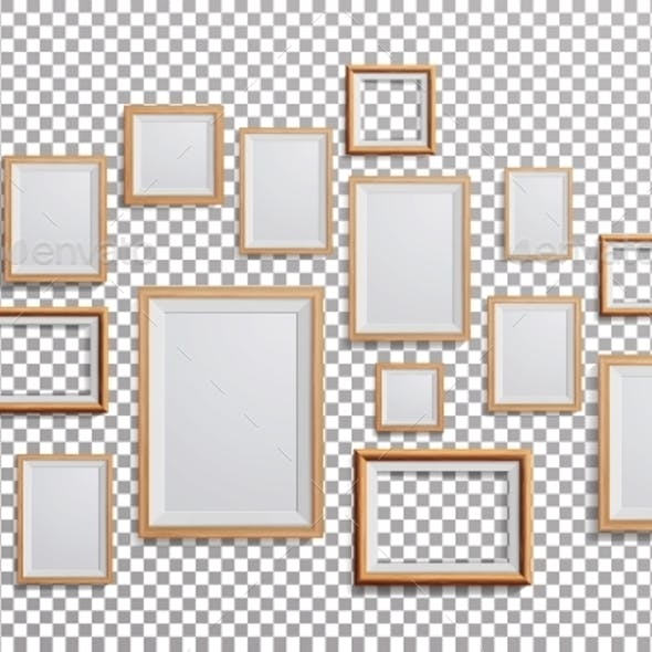 Realistic Photo Frame Vector. Set Square, A3, A4