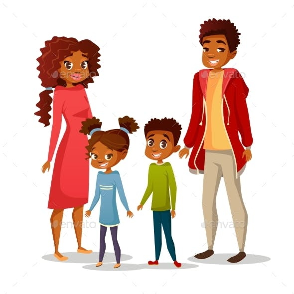 Afro American Family Vector Illustration