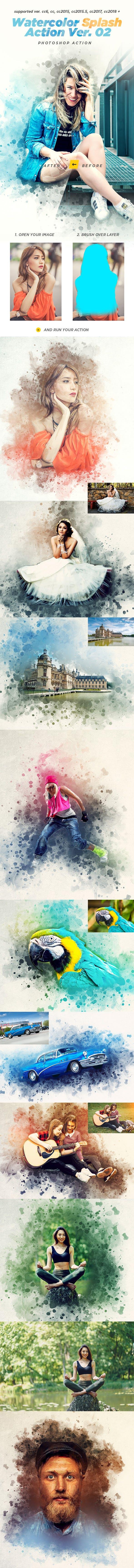 Watercolor Splash Photoshop Action Ver. 02