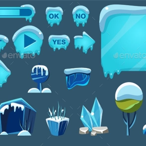 Buttons with Snow Set, Game User Interface
