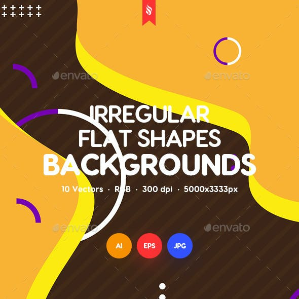 Abstract Irregular Flat Shapes Backgrounds