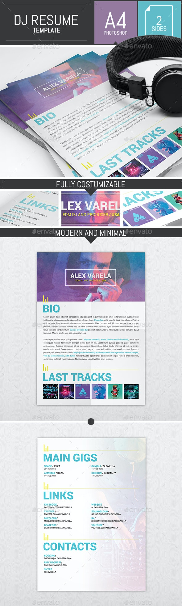 Dj / Musician Press Kit / Resume PSD Template - Resumes Stationery