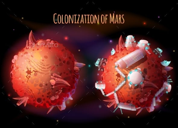 Colonization of Mars Vector Concept Illustration