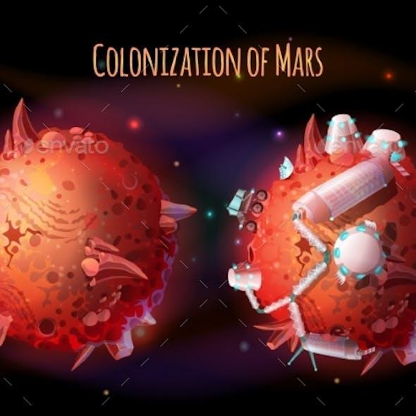 Colonization of Mars Vector Concept Illustration