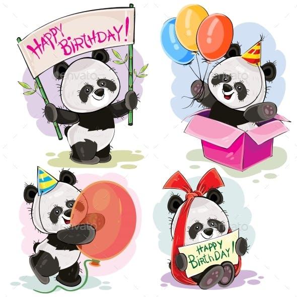 Happy Birthday Vector Set with Baby Panda Bears