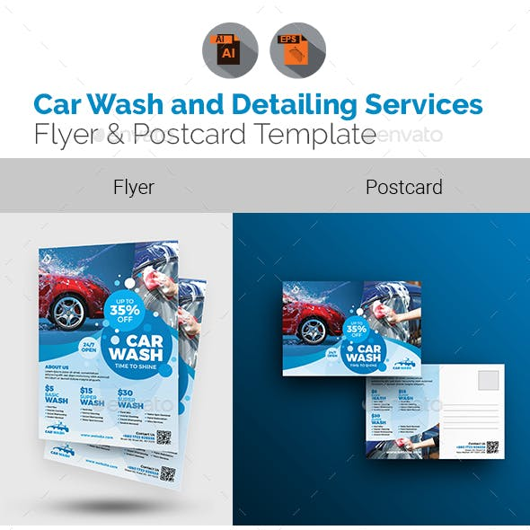 Car Wash and Auto Detailing Flyer & Postcard Bundle