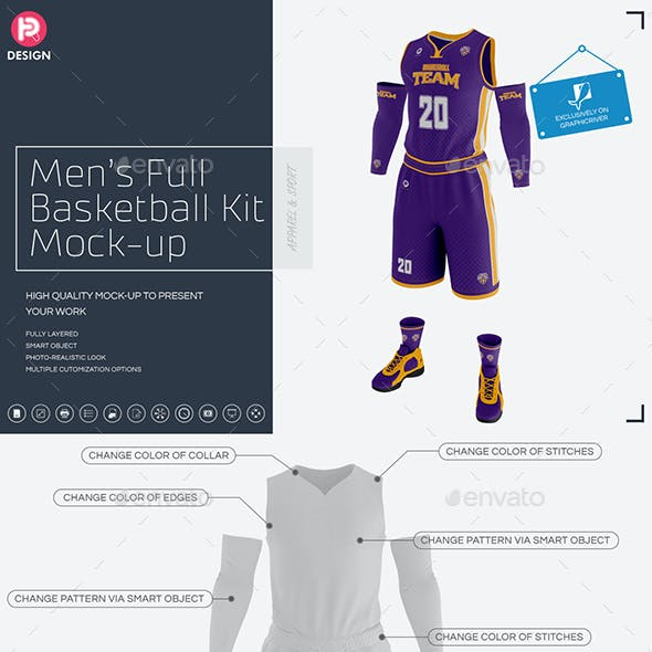 Men's Full Basketball Kit Wishbone Collar Jersey Mock up