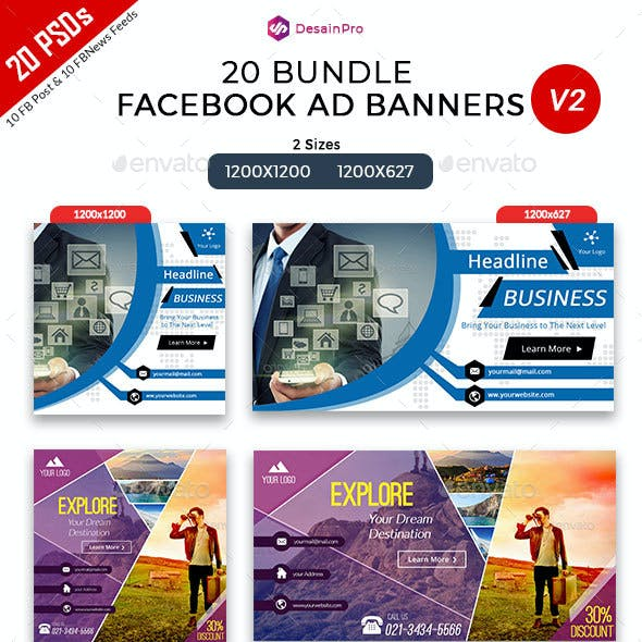20 Facebook Ad Banners V2 Bundle - AR
