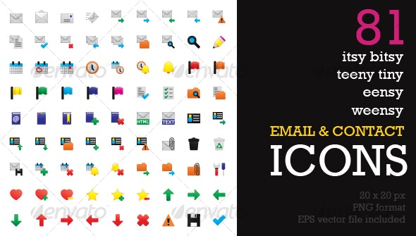 Itsy Bitsy Icons - Email & Contact App Icons - Software Icons