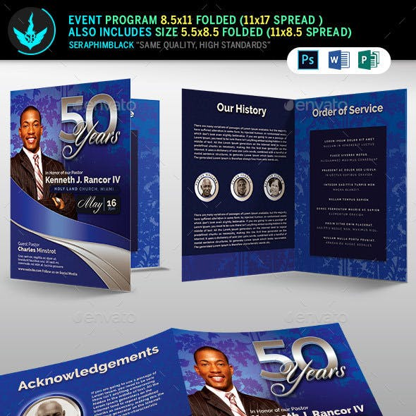 Sapphire Blue Pastor's Anniversary Church Program Template