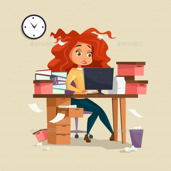 Woman in Office Stress Vector Illustration