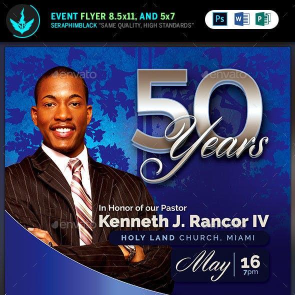 Sapphire Blue Pastor's Anniversary Church Flyer Template