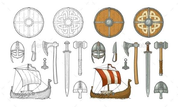 Set Viking. Knife, Drakkar, Axe, Helmet, Sword