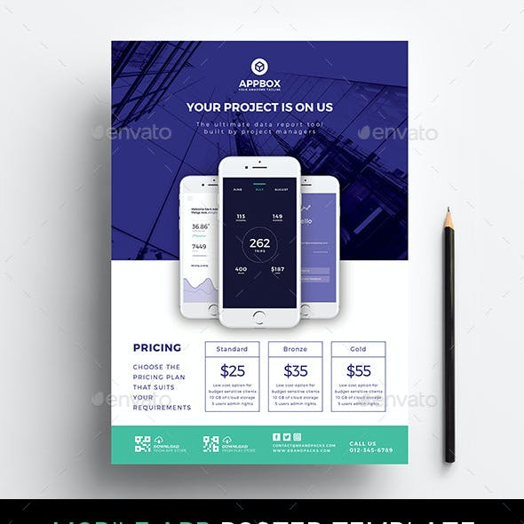 A4 Mobile App Poster Template v2