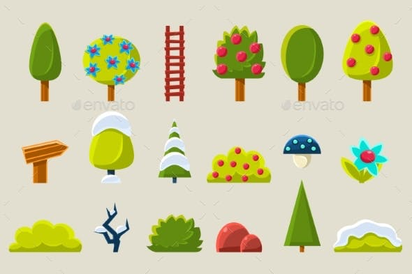 Trees and Plants in Different Setasons Sett, Fruit