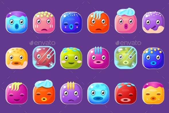 Colorful Buttons Emoticons Sett