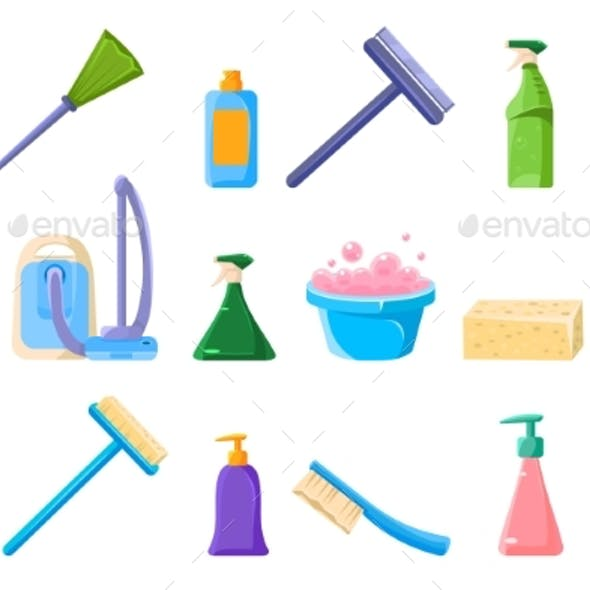 Cleaning Supplie Sett, Tools for Cleaning Vector