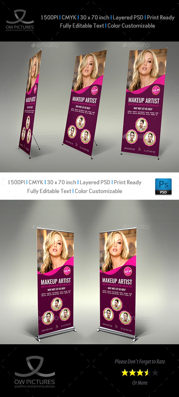 Beauty Center Signage Roll Up Banner Template Vol.2 - Signage Print Templates
