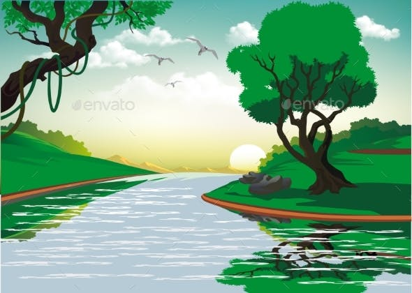 Landscape Sunrise Over the Forest River