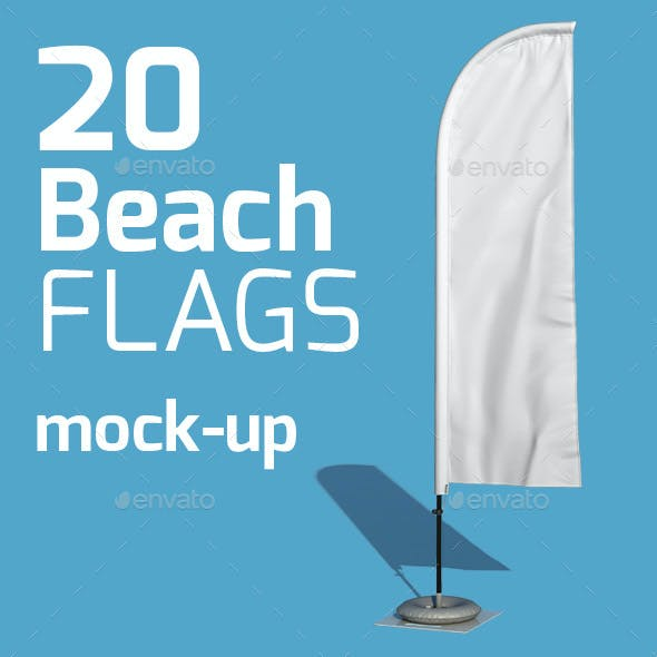 20 Beach Flag Mock-up