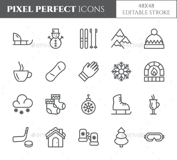 Winter Vacation Theme Pixel Perfect Line Icons.