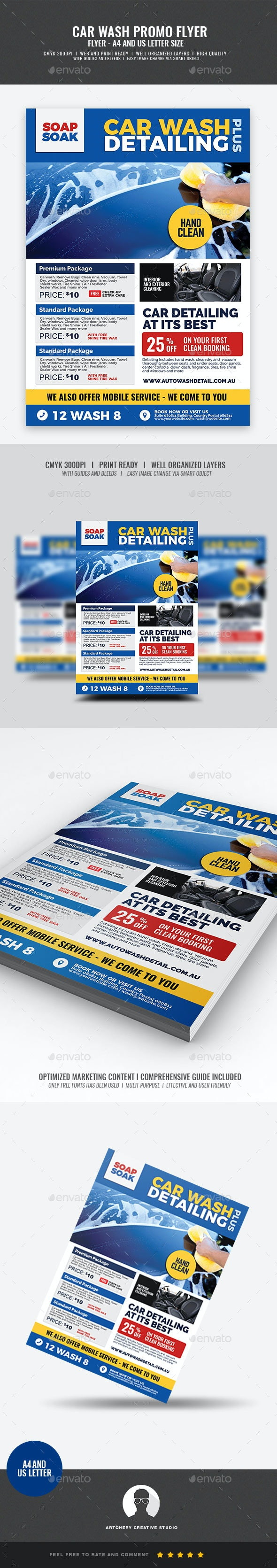 Car Wash Auto Cleaning Service Flyer - Corporate Flyers