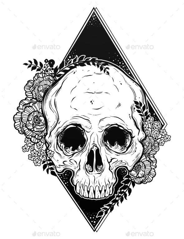 Human Skull Hand Drawn Tattoo Style with Flowers