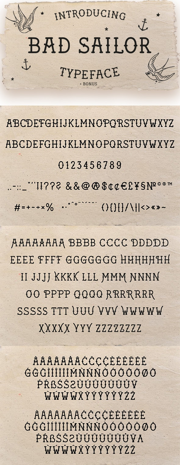 Bad Sailor Tattoo Font - Cool Fonts