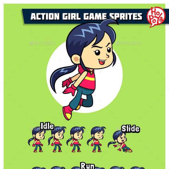 Action Girl Game Sprites