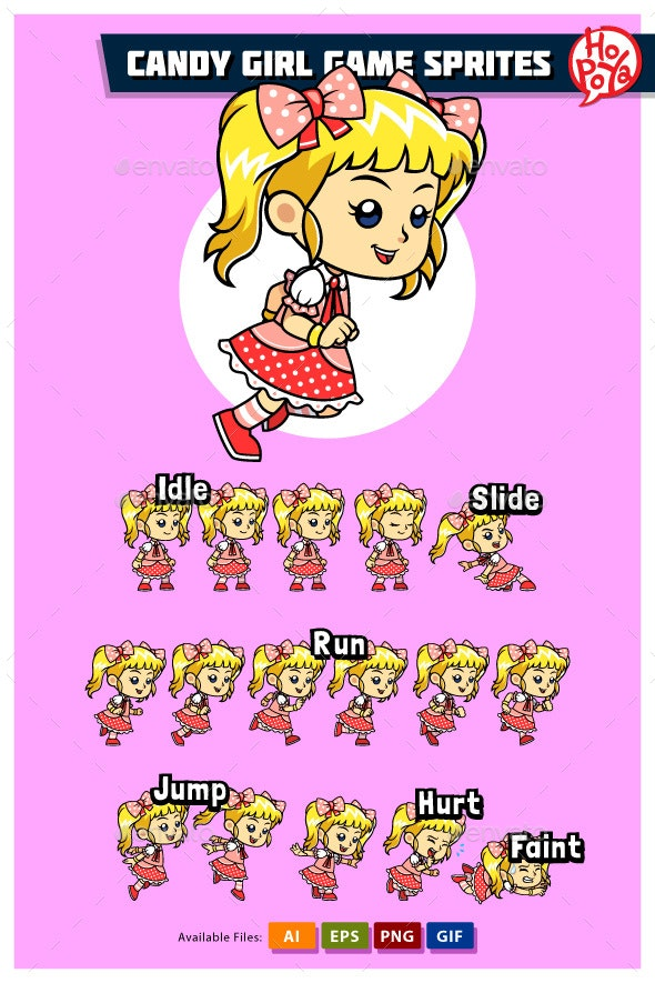 Candy Girl Game Sprites - Sprites Game Assets