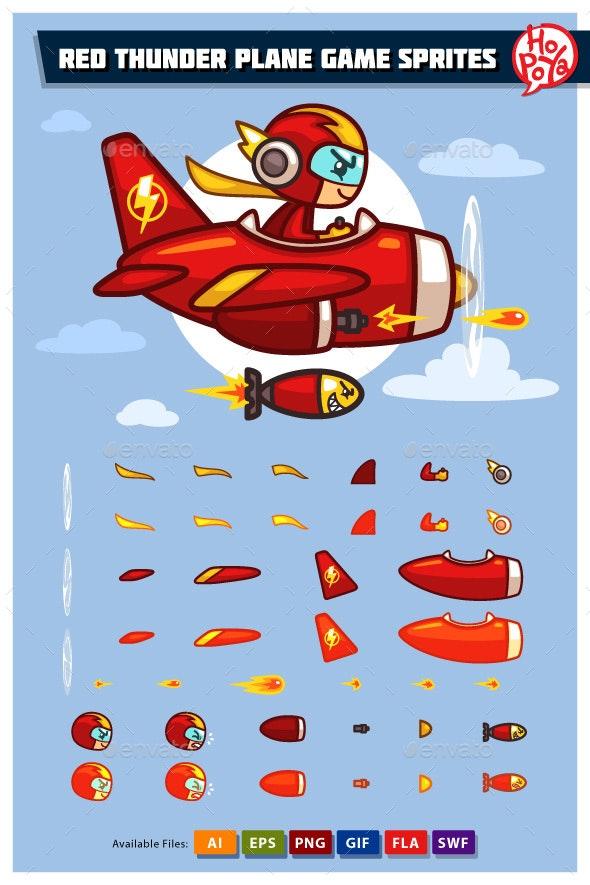 Red Thunder Plane Game Sprites - Sprites Game Assets