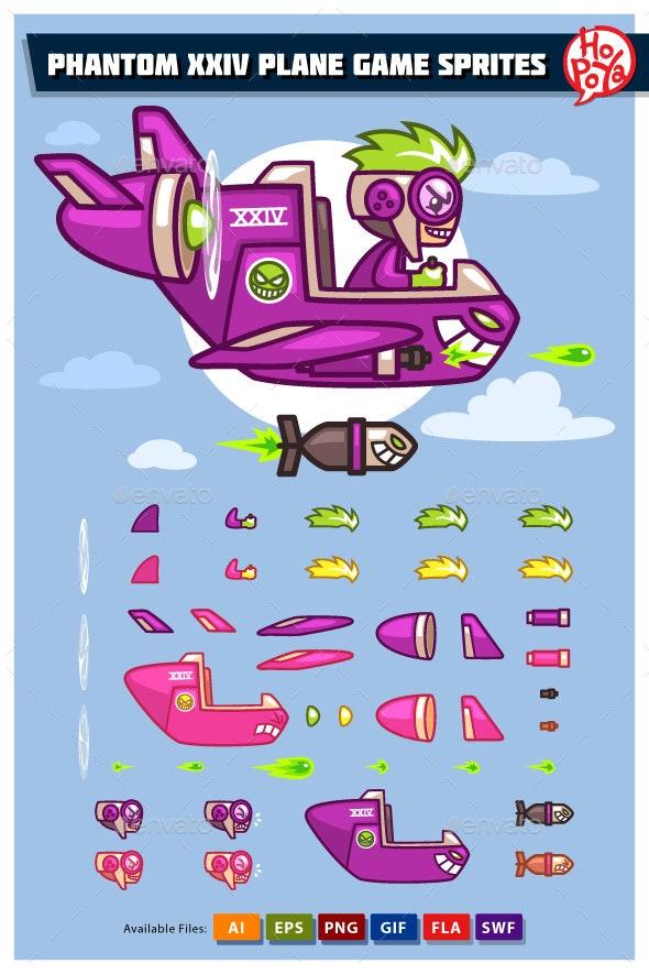 Phantom XXIV Plane Game Sprites - Sprites Game Assets
