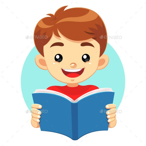 Boy Reading a Blue Book - People Characters