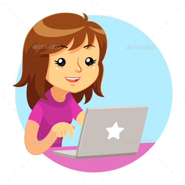 Girl Wearing Purple Shirt Using Grey Laptop - Computers Technology