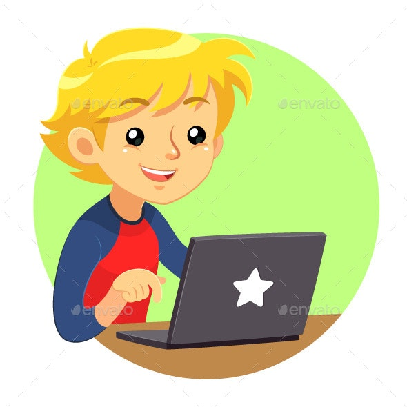 Boy Wearing Red And Blue Shirt Using Dark Grey Laptop - Computers Technology