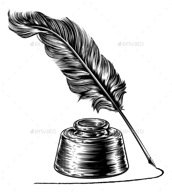 Writing Quill Feather Pen and Ink Well