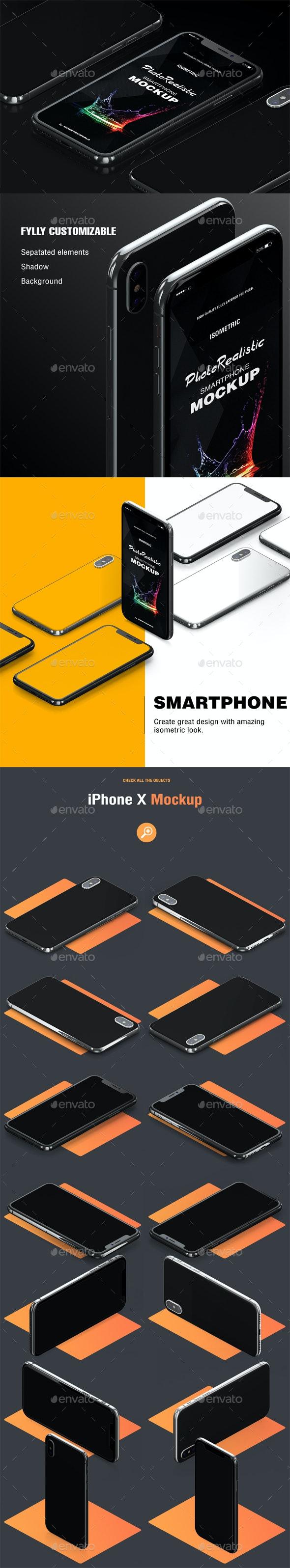 Isometric Phone X Mock-up - Product Mock-Ups Graphics