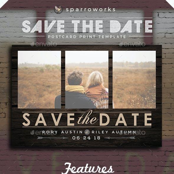 Modern Rustic Save the Date Postcard Template