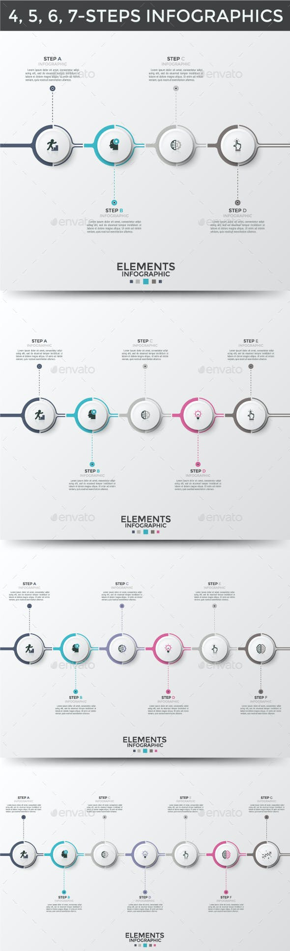 Circle Infographic Timelines (4 Items)
