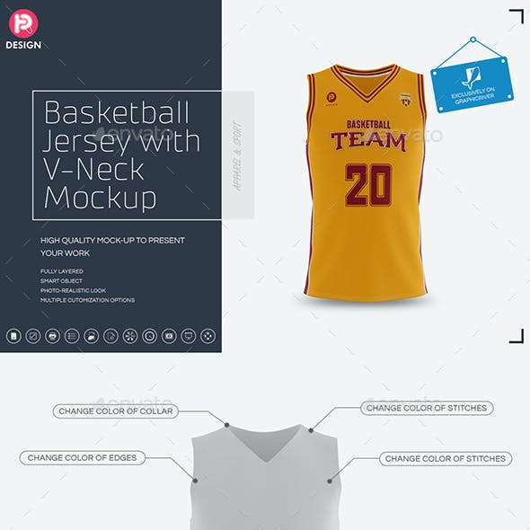Basketball Jersey with V-Neck Mock-Up