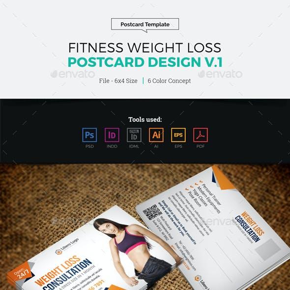 Fitness Weight Loss Postcard Design