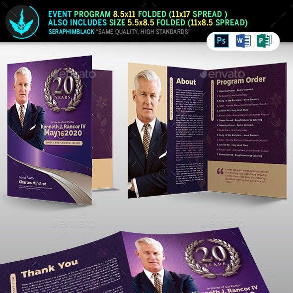 Lavender Pastor's Church Anniversary Program Template