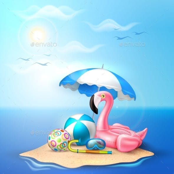 Vector Flamingo Inflatable Pool Ring on Beach