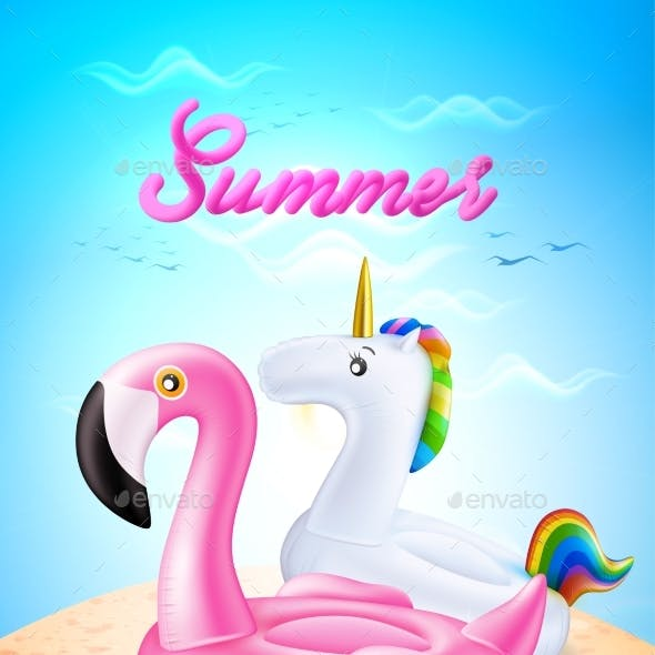 Vector Flamingo and Unicorn Inflatable Ring on Beach