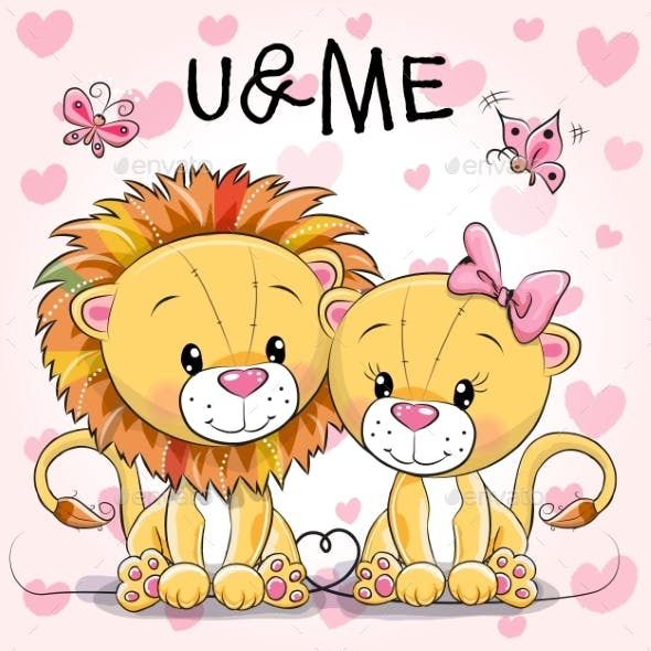 Two Cute Lions on a Hearts Background