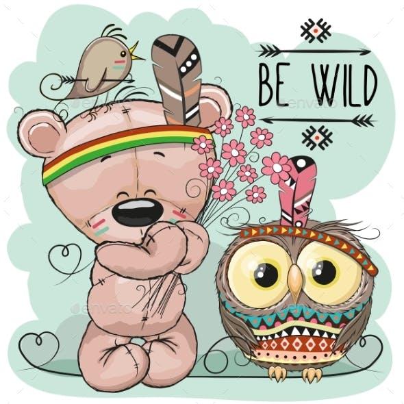 Cute Cartoon Tribal Teddy Bear and Owl