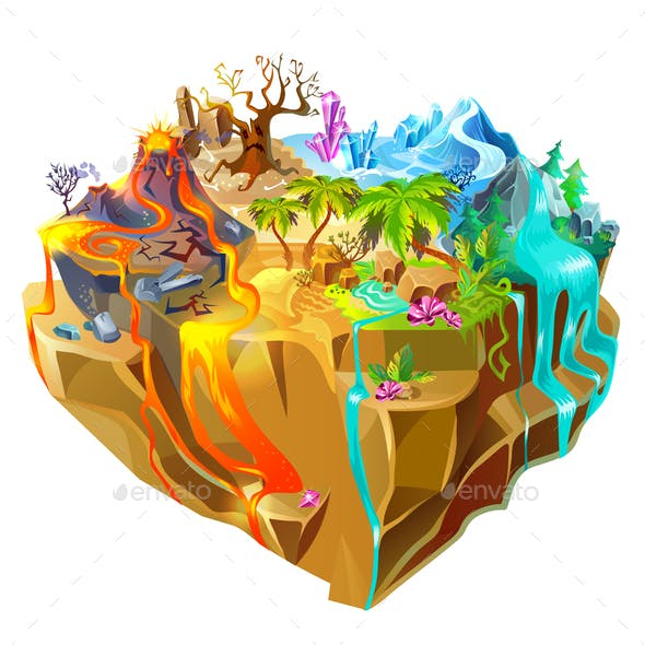 Isometric Colorful Game Island Background