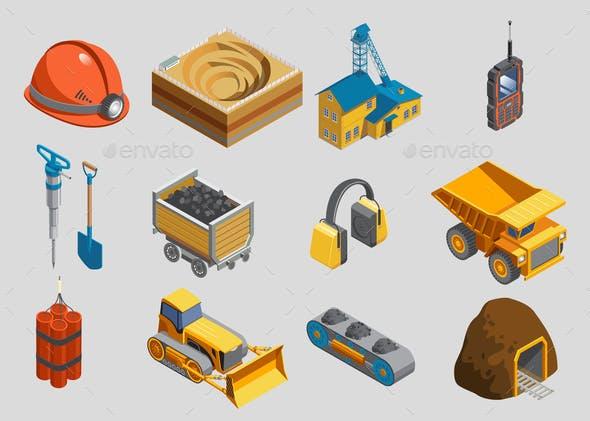 Isometric Mining Elements Set